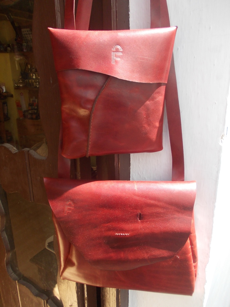 Lovely reddish brown leather. Currently for sale in the 'Centro de Información Turística de Grazalema'.
