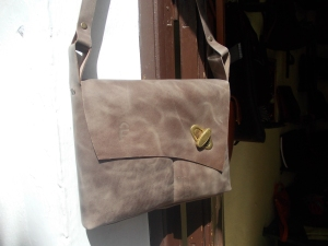 Lovely chocolate beige soft leater shoulder bag (decorated by hand sewn front seam)