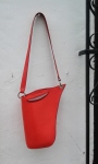 original red sculptured leather bag by FG handmade bags