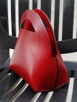 Red sculptured handbag by FG handmade bags