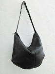 125€. Soft black shoulder purse by fg handmade bags