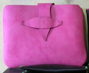 Bright pink leather made to measure iPad case