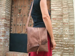Handmade leather bag. Natural/vegebable tannins produce a leather that only gets better with age.
