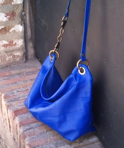 blue chrome-tanned designer bag sold in Sevilla!