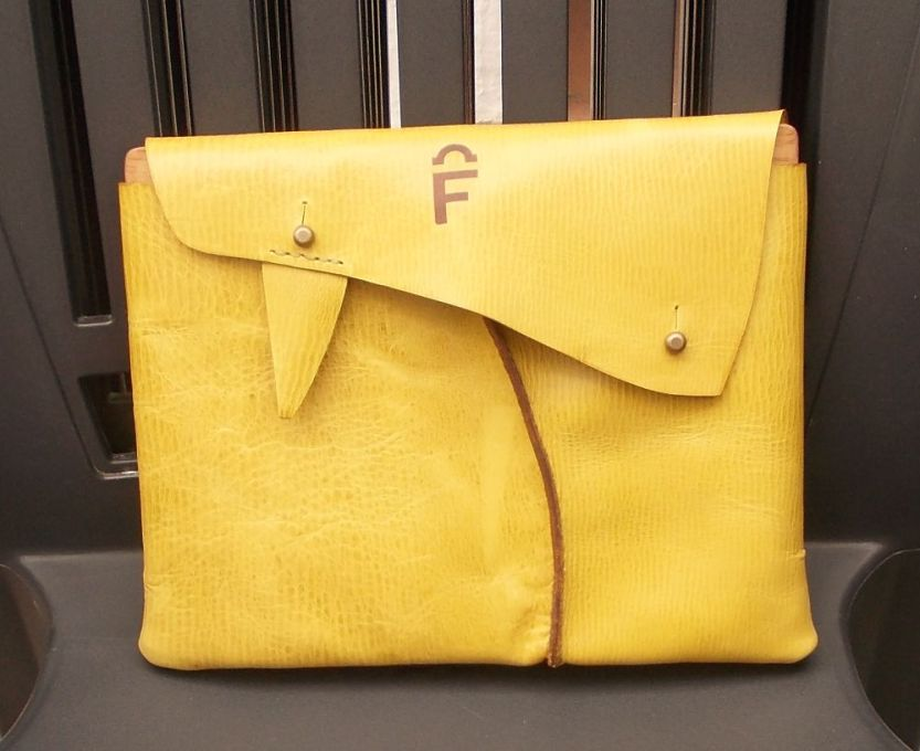 iPad case made from naturally-tanned leather