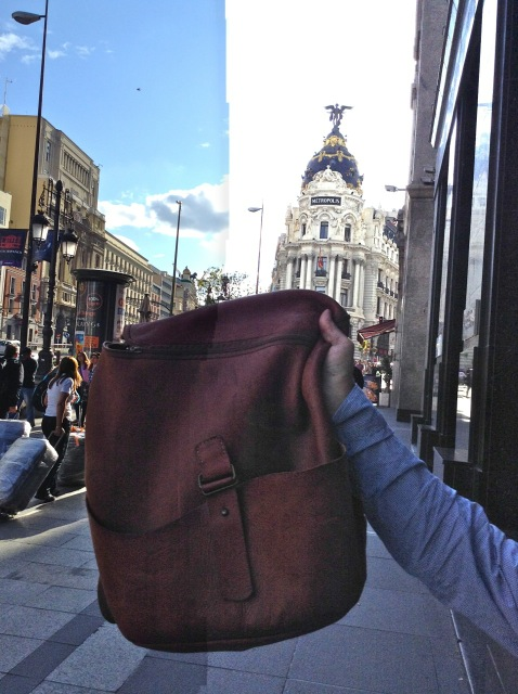 custom-made leather backpack in Madrid