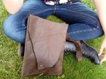 Modelling Matias´s organic leaf design FG handmade bag