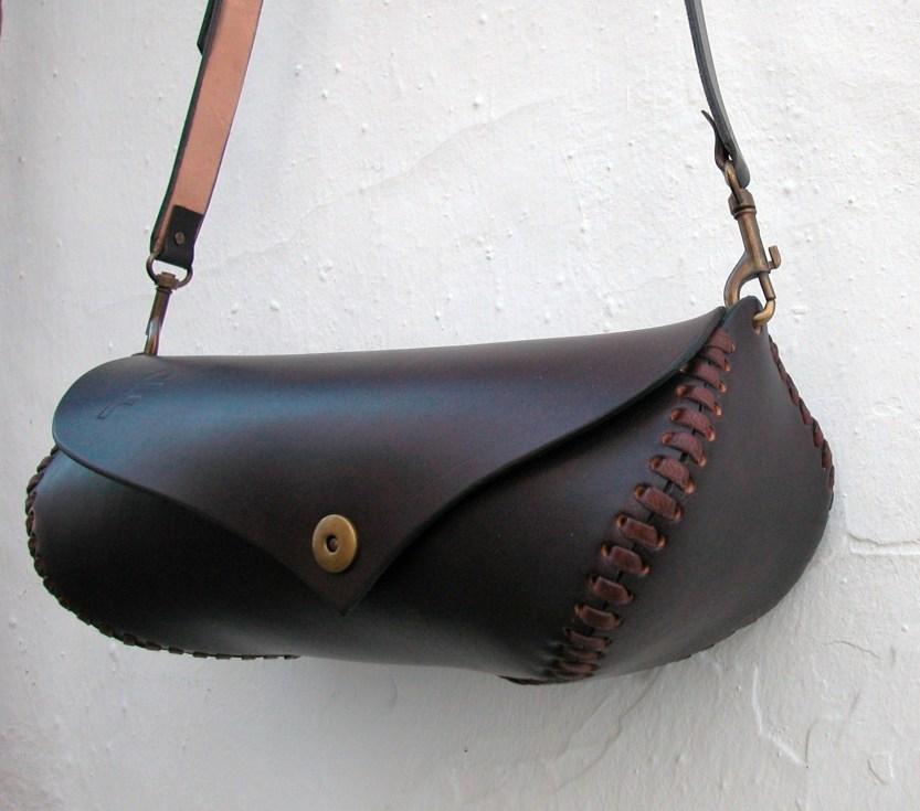 sculptured leather bag unique design