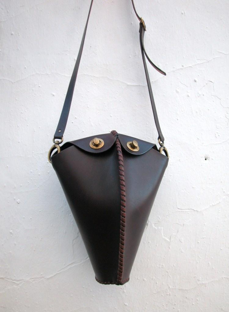 sculptured leather handbag by FG