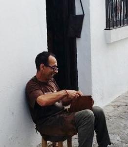 Fernando working outside 'La Tienda Chica'