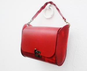 unique red 'sculptured' fg bag, quality designs