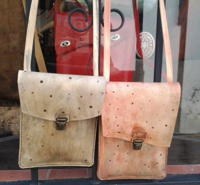 fun little leather shoulder bags by FG handmade bags