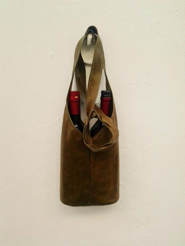 Leather unique shoulder or handbag for wine bottles