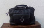 FG leather travel bag black handstitched